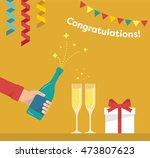 men's hand is pours a bottle of ...   Shutterstock .eps vector #473807623