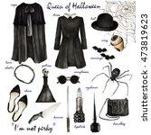 watercolor fashion illustration.... | Shutterstock . vector #473819623