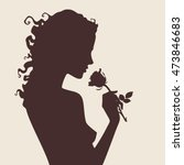 Vector Silhouette Of Beautiful...