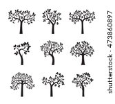 set of black trees. vector... | Shutterstock .eps vector #473860897