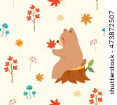 autumn seamless pattern with... | Shutterstock .eps vector #473872507