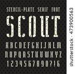 narrow stencil plate serif font ... | Shutterstock .eps vector #473900563