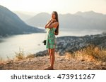 happy woman at sunset in the sun | Shutterstock . vector #473911267