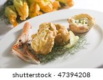 Zucchini flowers with shrimps - stock photo