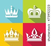 white crown icons on color...