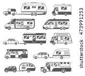 motorhomes black white icons... | Shutterstock . vector #473991253