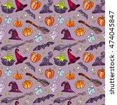 halloween items pattern. vector ... | Shutterstock .eps vector #474045847