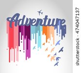 "poster ""adventure"" isolated on... 
