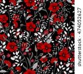vintage seamless floral... | Shutterstock . vector #474052627