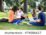 group of young students sitting ... | Shutterstock . vector #474086617