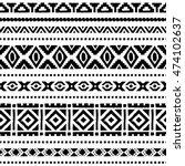 black and white seamless ethnic ... | Shutterstock .eps vector #474102637