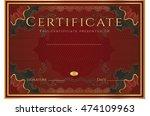 certificate  diploma of... | Shutterstock . vector #474109963