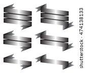 gray ribbon set on white...   Shutterstock .eps vector #474138133