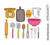 doodle icons. kitchen... | Shutterstock .eps vector #474142477