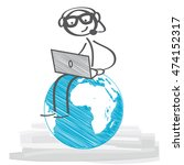 stick figure with headset and... | Shutterstock .eps vector #474152317