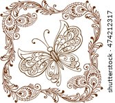decorative butterfly with... | Shutterstock .eps vector #474212317