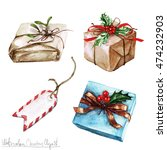 watercolor christmas clipart  ... | Shutterstock . vector #474232903