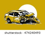 car accident. hand drawn... | Shutterstock .eps vector #474240493