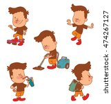 vector cartoon set of cute... | Shutterstock .eps vector #474267127
