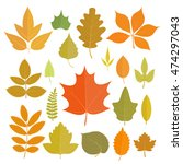 set of yellow autumn leaves... | Shutterstock . vector #474297043