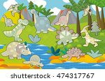 cartoon scene   dinosaur land   ... | Shutterstock . vector #474317767