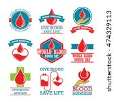 blood donation badges | Shutterstock .eps vector #474329113