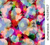 Leaves Seamless Pattern Flower...