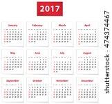 calendar for 2017 year on white ... | Shutterstock .eps vector #474374467