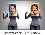 mood swings in a girl | Shutterstock . vector #474380587