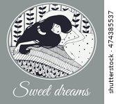sleeping girl with cat doodle... | Shutterstock .eps vector #474385537