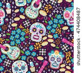 Stock vector seamless calaveras background day of the dead pattern 474408487