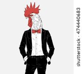 rooster dressed up in tuxedo ... | Shutterstock .eps vector #474440683