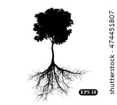 silhouette of a tree with roots....   Shutterstock .eps vector #474451807