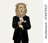 Lion Dressed Up In Tuxedo With...