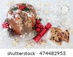chocolate panettone christmas... | Shutterstock . vector #474482953