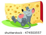 vector mouse rat ate cheese is... | Shutterstock .eps vector #474503557