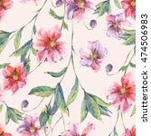 watercolor vintage floral... | Shutterstock . vector #474506983