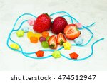 stawberry and candies inside... | Shutterstock . vector #474512947