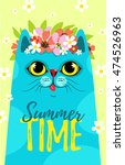 cute smiling cat with flowers... | Shutterstock .eps vector #474526963