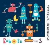 vector set of cartoon robots... | Shutterstock .eps vector #474581167