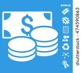 cash icon with bonus pictograms.... | Shutterstock . vector #474590863