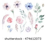 watercolour hand drawn set.... | Shutterstock . vector #474612073