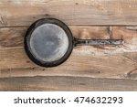 metal frying pan on the vintage ... | Shutterstock . vector #474632293