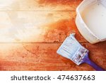 preparation for painting floor. ... | Shutterstock . vector #474637663
