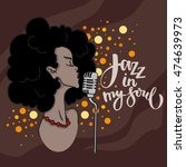 music jazz   stylish afro... | Shutterstock .eps vector #474639973