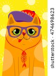 Cute Hipster Cat  Vector...