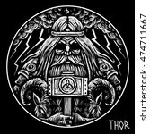 Norse God Thor With Hammer And...