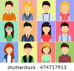 set of icons in a flat style.... | Shutterstock .eps vector #474717913