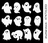 Cartoon Spooky Ghost Character...