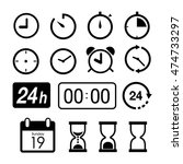 time and clock icons on white... | Shutterstock .eps vector #474733297